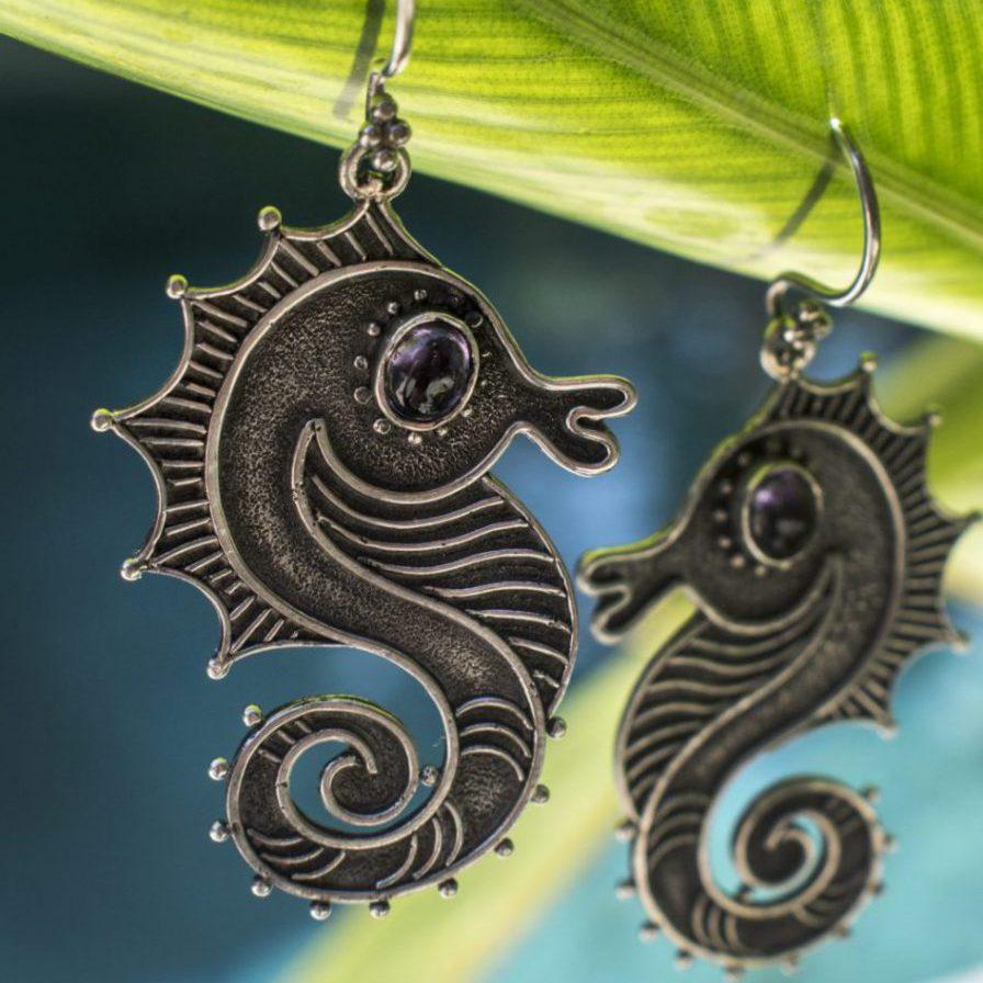 amethyst silver seahorse